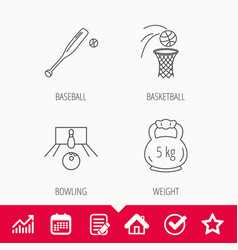 Baseball bowling and basketball icons vector