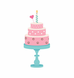 Birthday cake with candle and heart vector