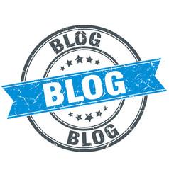 Blog round grunge ribbon stamp vector