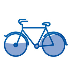 Blue shading silhouette of tourist bicycle icon vector