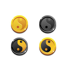 cartoon golden coins yin yang on white background vector image