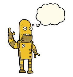 Cartoon waving gold robot with thought bubble vector