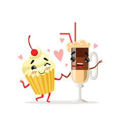 Coffee latte and cupcake with cherry on top cute vector