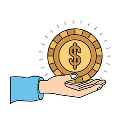 Colorful silhouette hand palm giving a coin with vector