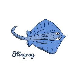 Cute cartoon stingray vector