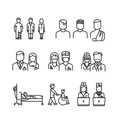 Doctor patient nurse thin line icons set vector