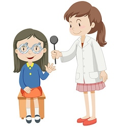 Girl having eye checked by doctor vector