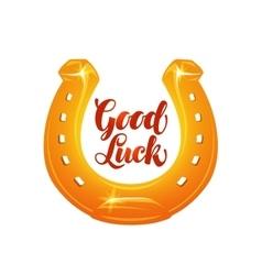 Golden horseshoe for luck vector