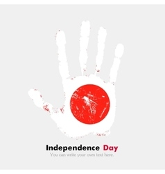 Handprint with the flag of japan in grunge style vector