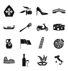 Italia icons set simple style vector