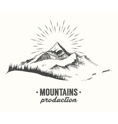 Mountains fir forest sunrise sunset drawn vector image vector image