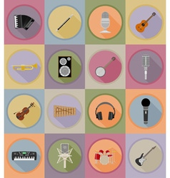 Music items and equipment flat icons 19 vector