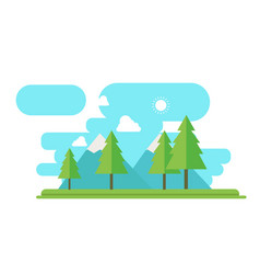 Nature landscape with forest and mountain in flat vector