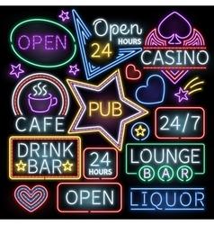 Neon bar illumination signs vector