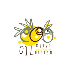 olive oil label with some olives hand drawn on vector image vector image