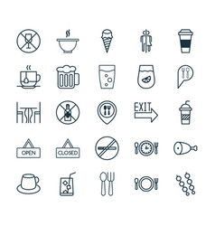 Restaurant icons set collection of food mapping vector