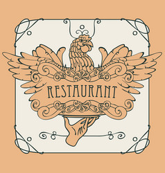 Restaurant menu with the hand tray and chicken vector