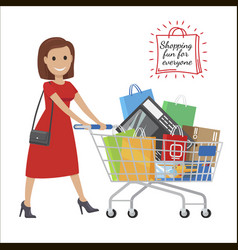 Shopping fun for everyone cartoon woman with cart vector