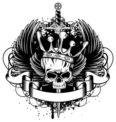 Skull with crown wings and sword vector