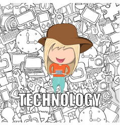 Teenage girl wearing hat playing with phone happy vector