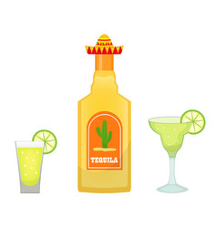 Tequila bottle with glasses and pieces of lime vector