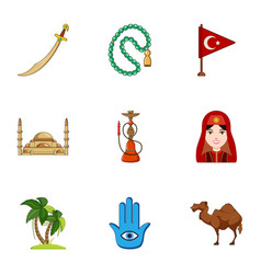 Turkey travel icons set cartoon style vector