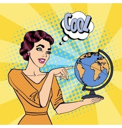 Young Woman with Globe Pop Art vector image vector image