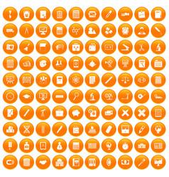 100 calculator icons set orange vector
