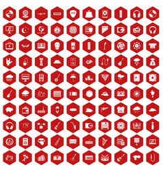 100 music festival icons hexagon red vector