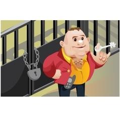 Creative scene cool businessman locks the door vector