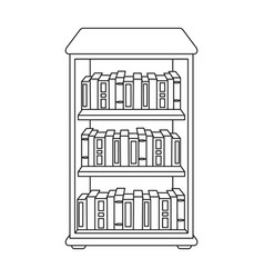 Bookcase with books icon in outline style isolated vector