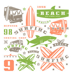 Set of graphic elements bus surfing shark vector