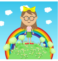 little girl standing on green earth over rainbow vector image