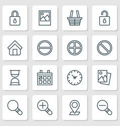Internet icons set collection of obstacle shop vector