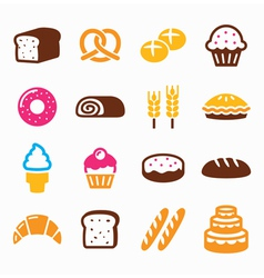 Bakery pastry icon set - bread donut cake vector