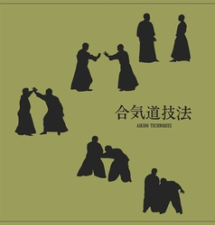 Men engaged aikido on a green background vector