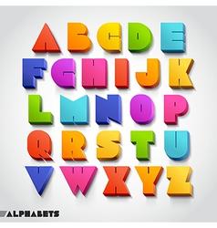3d alphabet colorful font vector