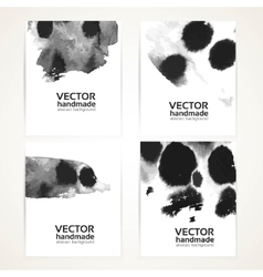 Abstract black and white wet ink texture banner vector