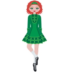 Irish girl step dancer vector