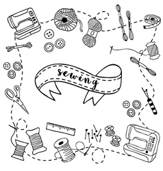 Sewing doodle hand drawn vector