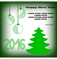 Postcard with fir tree and new year toys vector