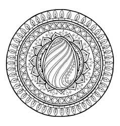 Circle tribal doodle mandala with easter egg vector