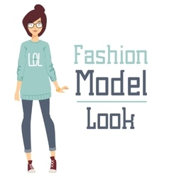 Beautiful cartoon fashion girl model vector