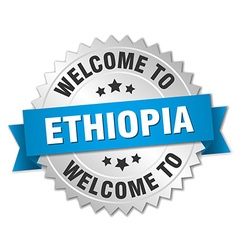 Ethiopia 3d silver badge with blue ribbon vector