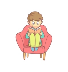 Boy reading a book in the armchair vector