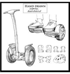 Set hand drawn balancing scooter segwaytwo vector