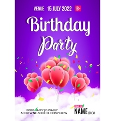 Birthday party poster sky clouds happy balloons vector