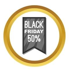 Black friday sale ribbon icon vector
