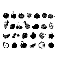 Black fruit icons vector