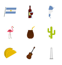 Buenos aires travel icons set cartoon style vector